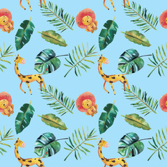 Foto op Canvas Papegaai Hand-drawn watercolor seamless pattern. Green tropical leaves and wild animals
