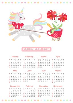Cute calendar for 2020 year with small horse - unicorn harnessed to cart in the form of red cup on castors with large beautiful flower in it