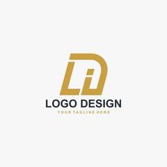 Fototapeta Letter LI logo design vector. Abstract font logo design. obraz