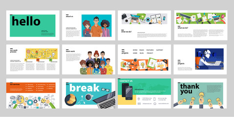 Business presentation templates. Flat vector illustration