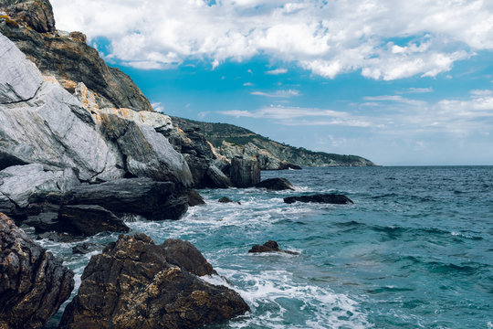 Sea and Rocks. A view from the lowest part of the cliff where the Mamma Mia was filmed in Skopelos, Greece