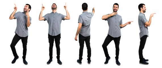 Set of Handsome man pointing back up and laterals