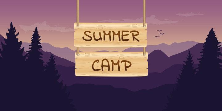summer camp wooden sign at purple mountain nature landscape vector illustration EPS10