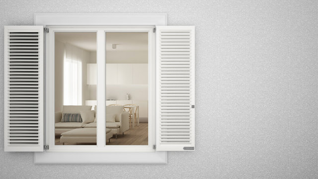 Exterior plaster wall with white window with shutters, showing interior living room, blank background with copy space, architecture design concept idea, mockup template