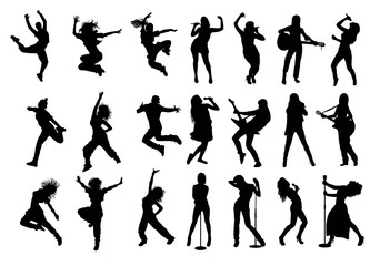 Silhouettes Rock or Pop Band Musicians, art vector design