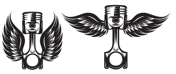 Vector set of monochrome patterns on a motorcycle theme with piston and wings
