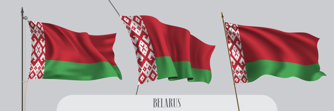 Set of Belarus waving flag on isolated background vector illustration