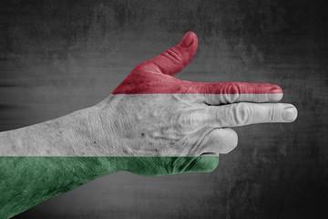 Hungary flag painted on male hand like a gun