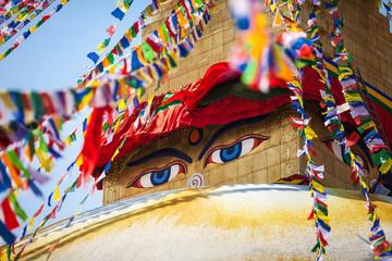 Buddha's eyes depicted on a stupa Boudnath