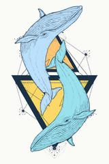 Two color whales tattoo geometric style. Mystical symbol of adventure, dreams. Creative geometric print design