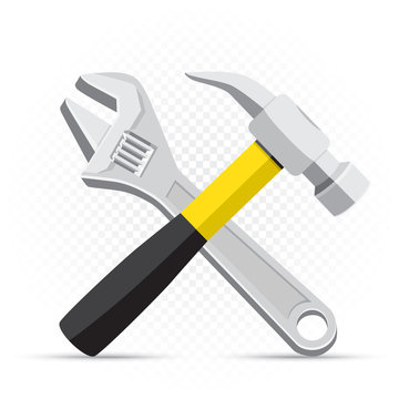 wrench and hammer repair icon