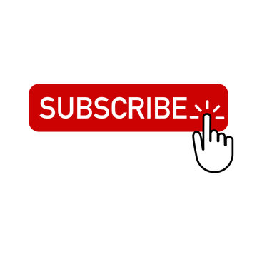 red button subscribe with hand clicking on