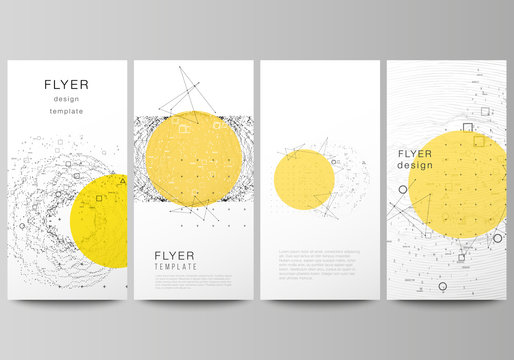 The minimalistic vector illustration of the editable layout of flyer, banner design templates. Science or technology 3d background with dynamic particles. Chemistry and science concept.