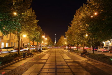 street at night in Czestochowa, Poland, night cityscape Fotomurales