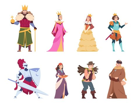 Medieval characters. Flat historical people, king queen prince and princess royal set. Vector cartoon renaissance costume fairytale knights and peasant