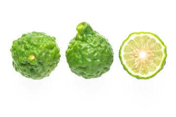 Fresh bergamot fruit and half piece isolated on white background ( Kaffir lime, Citrus, Rutaceae. )