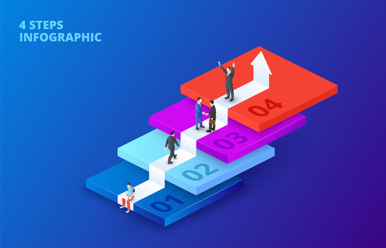 Vector isometric stairs with people infographic on a dark blue background. Growth concept with 4 steps, options, parts or processes. The man climbs the ladder.