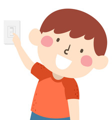 Kid Boy Chores Turn Off Light Switch Illustration
