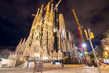 Illuminated Sagrada Familia at Night - Barcelona, Spain