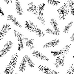 Seamless pattern of black stamp fir branches on white background. Endless texture for christmas and winter design.