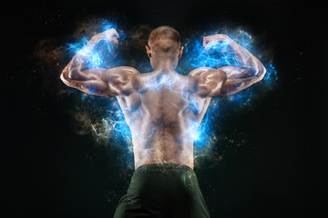 Bodybuilding competitions on the scene. Man sportsmen bodybuilder physique and athlete. Fitness motivation.