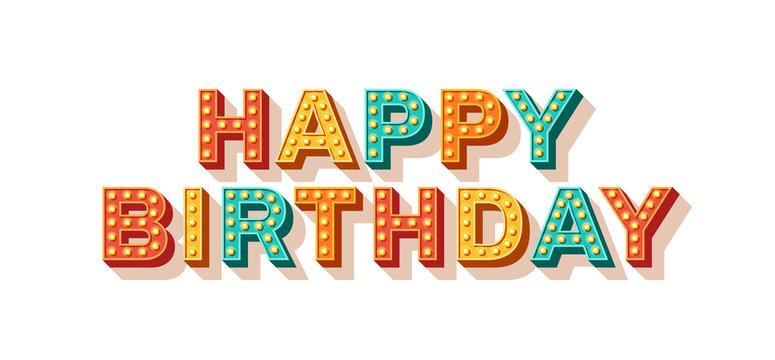 Happy Birthday retro typography