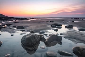 Sunset on Westward Ho! beach - Devon, England