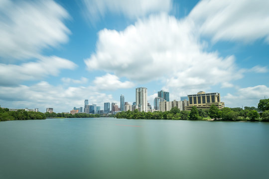 Long Exposure Picture of Downtown Austin Over Lady Bird Lake