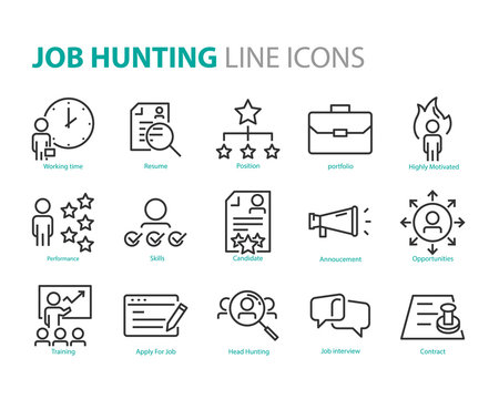 set of job hunting icons, such as cv, hr, training, career