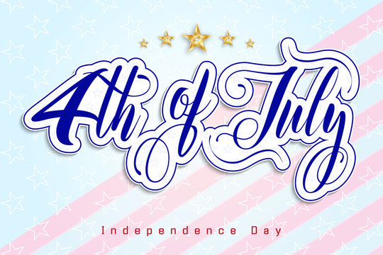 4th of July Independence day of USA. Poster in honor of Independence Day celebrations in the United States of America. Vector illustration.