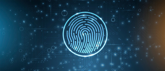 Abstract fingerprint technology business background. Circuit security style