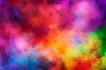 Abstract clouds of color smoke colorful texture background. Colored fluid powder explosion, dust, vape smoke liquid abstract clouds design for poster, banner, web, landing page, cover. 3D illustration Wall mural