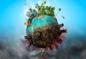 Earth globe with peace and war battle ruined areas. Apocalypse, world saving, environment ecology, pollution, peace and world war concept. 3D illustration Wall mural