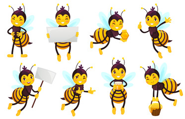 Cartoon bee character. Bees honey, flying cute honeybee and funny yellow bee mascot vector illustration set