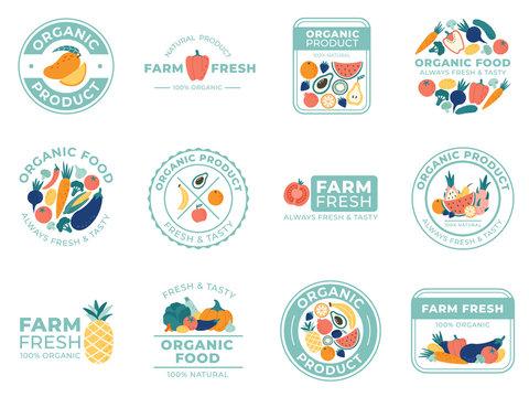 Fresh fruits and vegetables badges. Organic food, natural products and summer fruit. Vegetable badge vector illustration set