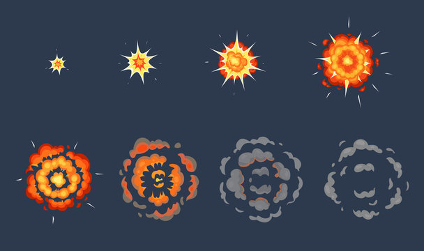 Cartoon explosion animation. Exploding effect frames, animated shot explode with smoke clouds vector illustration set