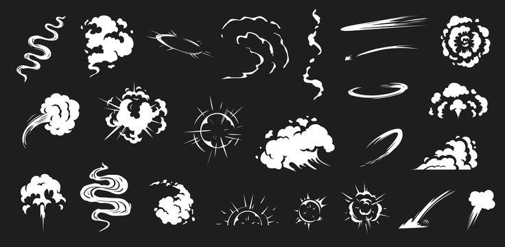 Comic smoke. Smoke puffs vfx, energy explosion effect and cartoon blast vector illustration set