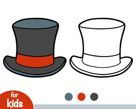Coloring book, cartoon headwear, Tophat