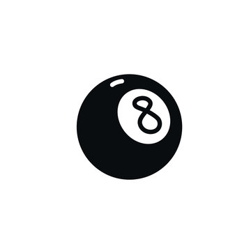 Number eight billiard ball icon. Vector. Illustration of a magic ball. Cartoon sign, symbol.