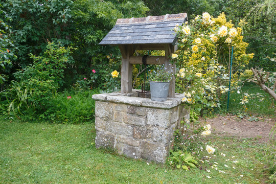 Well made in stone in a garden during spring