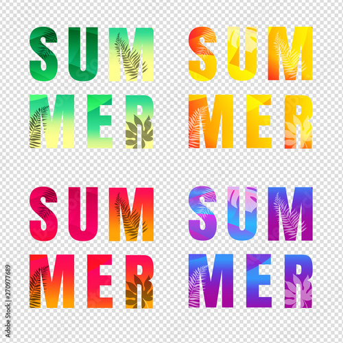 Summer Text Set Isolated Transparent Background