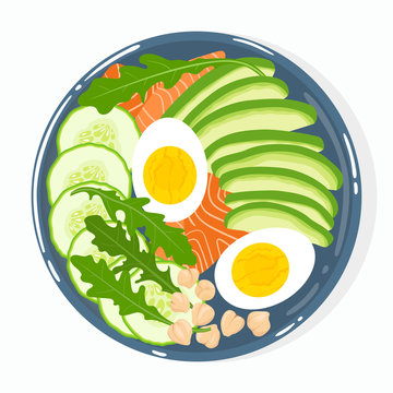 Buddha bowl with avocado, salmon, cucumber, boiled eggs, chickepeas, rucola, top view, isolated on background. Healthy clean balanced natural vegetarian detox meal. Vector illustration.
