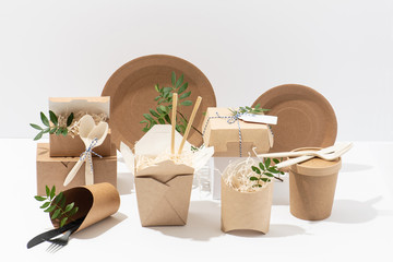 Eco friendly, disposable, recyclable tableware. Boxes, pots and cutlery.