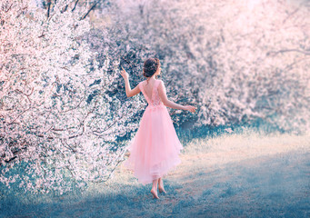 pretty slender girl with braided dark hair walks in garden barefoot, forest princess goes to sun, lady in elegant pink dress with deep neckline on back, fantastic creative colors, photo without face