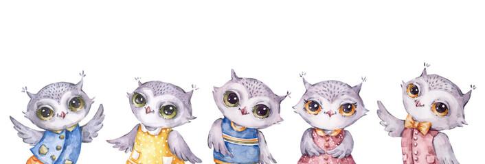 Four cute watercolor owls, cartoon bird collection