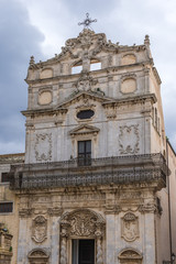 Frontage of Abbey Church of Saint Lucy at Cathedral Square on Ortygia isle, Syracuse city, Sicily Island in Italy