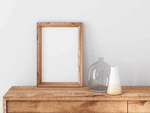 Vertical Wooden Frame poster Mockup standing on bureau