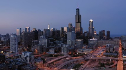 Fototapete - Chicago downtown buildings aerial skyline evening sunset