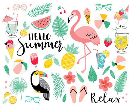 Set of cute summer icons. Hand drawn vector illustration.  Flamingo, toucan, tropical palm leaves, fruits, food, drinks. Summertime poster, scrapbooking elements.