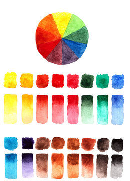 Watercolor  wheel palette (color circle) and multi-colored brushstrokes of the watercolor  palette. Hand-drawn picture.